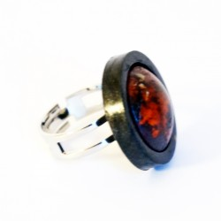 Small red and black adjustable ring