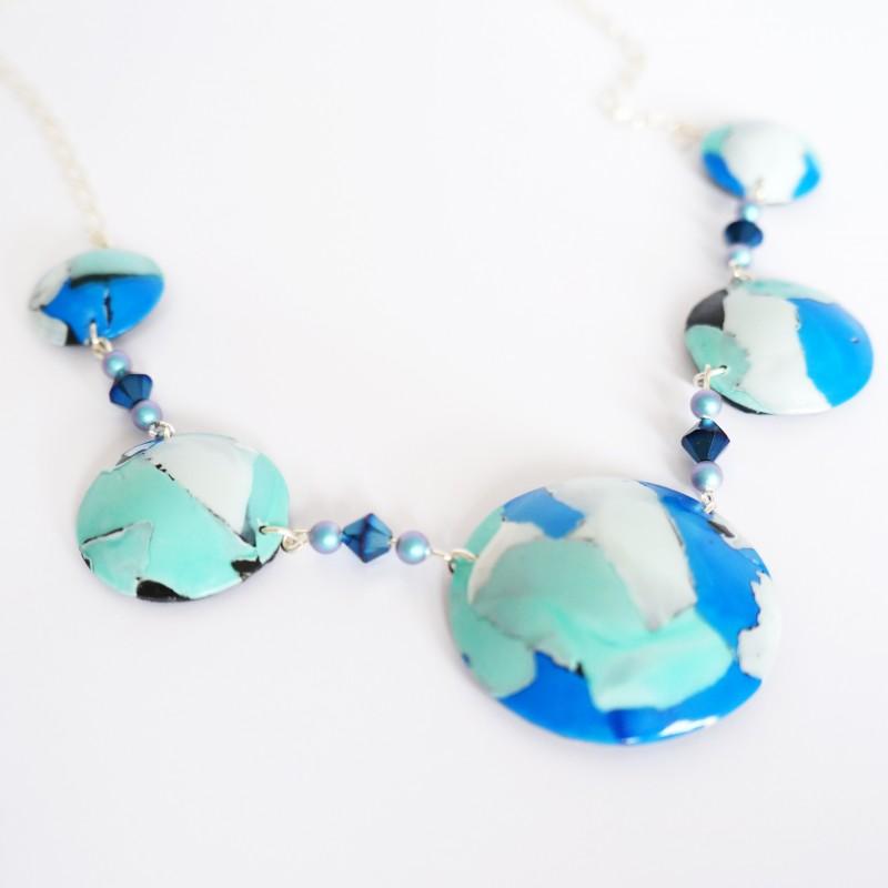 Collier long turquoise, bleu et blanc fait-main