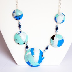 Handmade long turquoise, blue and white necklace