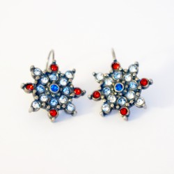 Blue, white and red earrings