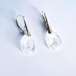 Clear Swarovski crystal and silver earrings