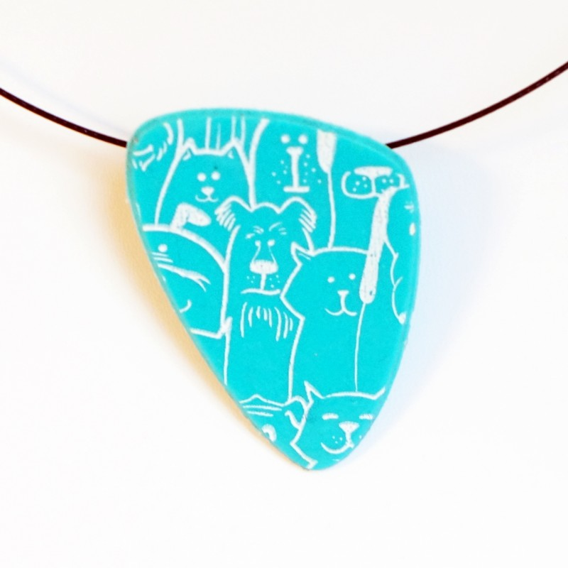 Blue pendant with cats and dogs