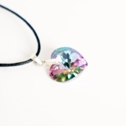 Pink and multicolored Swarovski crystal heart pendant