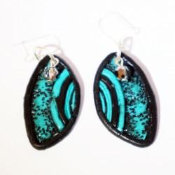Handmade turquoise and black earrings