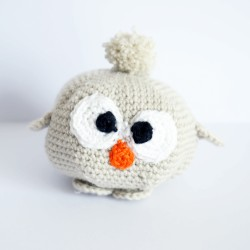 Grey and beige crocheted owl