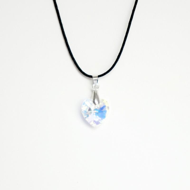 Transparent Swarovski crystal heart pendant