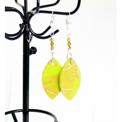 Florescent green and golden earrings