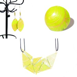 Fluorescent green ring, necklace and earrings set