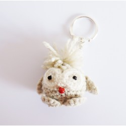 Porte-clés amigurumi petit hibou beige et gris