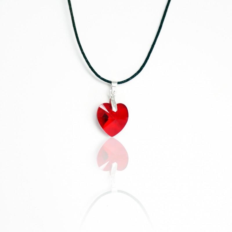 Red Swarovski crystal heart pendant