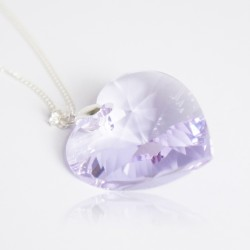 Very large Swarovski crystal pink heart pendant