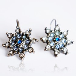 White and blue star earrings