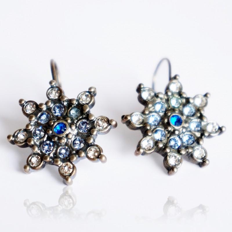 Boucles d'oreilles étoiles blanches et bleues