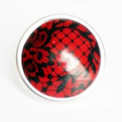 Bague dentelle rouge et noire