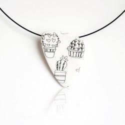Black and white pendant cactus