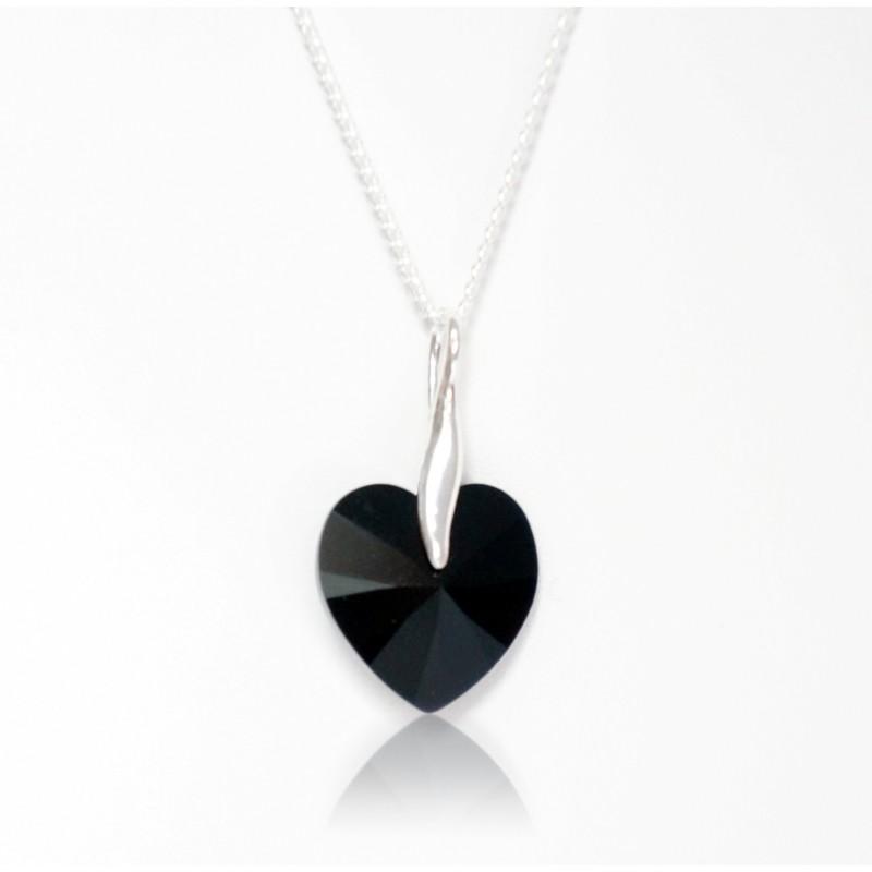 Collier coeur noir en cristal de Swarovski