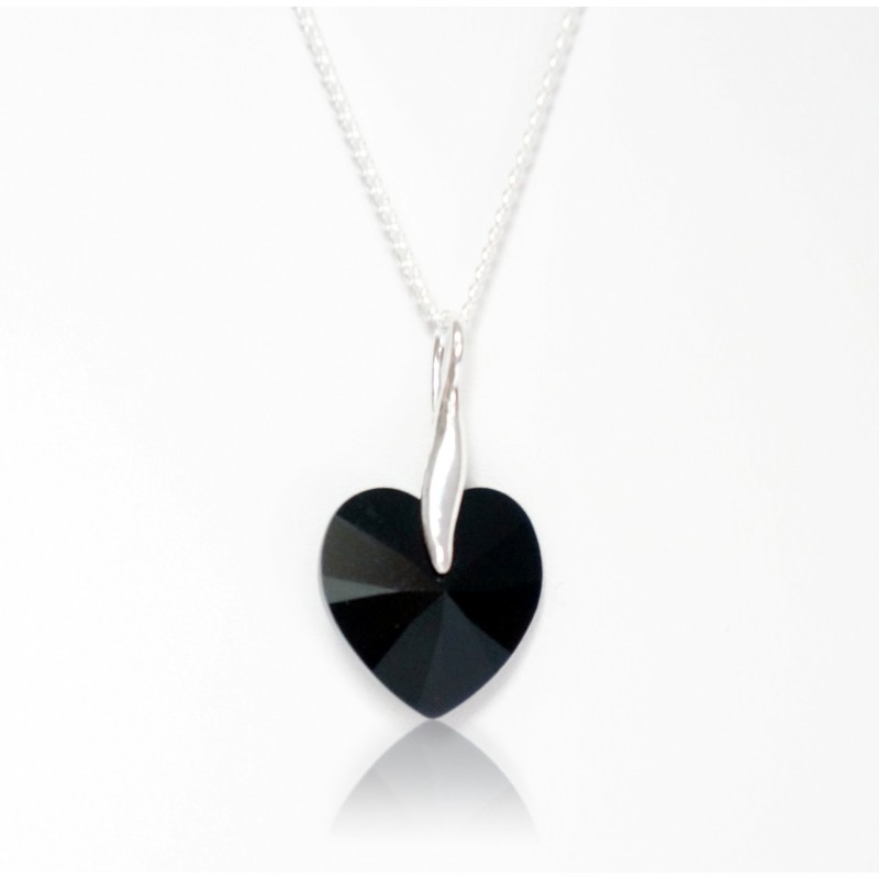 Red and Black Swarovski crystal heart necklace