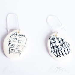Black and white cactus earrings