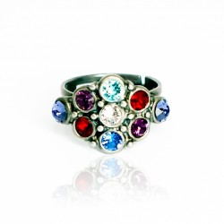 Rhombus ring with multicolored crystals
