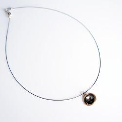 Small, round, black Swarovski crystal pendant