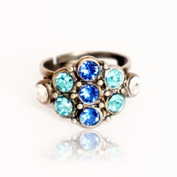 Rhombus ring with blue and green crystals