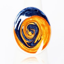 Blue and orange swirl costume ring
