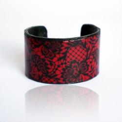 Bracelet imitation dentelle rouge et noir
