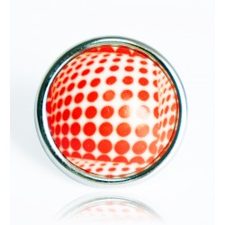 White and red polka dot ring