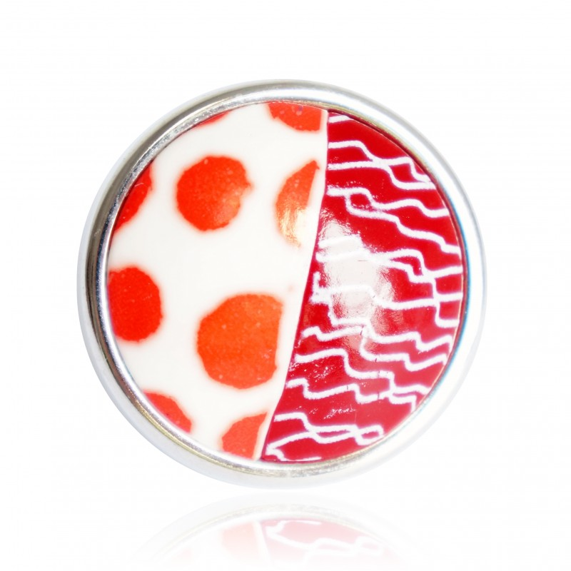 Large, red polka dot and scribble ring
