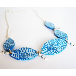 Blue and white azulejos necklace