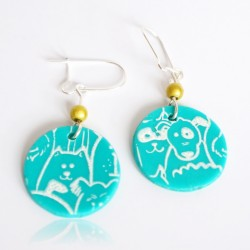 Turquoise dog and cat earrings