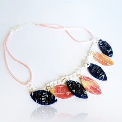 Blue necklace with fish and pink