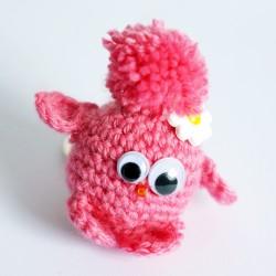 Porte-clé piou-piou rose (petit oiseau)