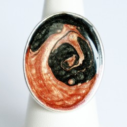 Antique pink and navy blue swirl ring