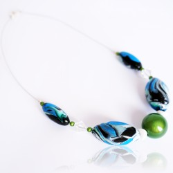 Blue, green, white and black choker necklace