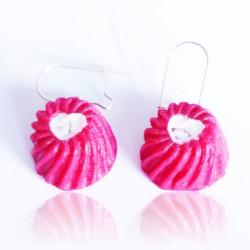 Pink flan earrings