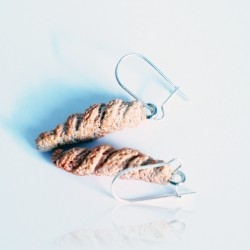 copy of Waffle-shaped novelty earrings with chantilly cream and a scoop of vanilla ice cream