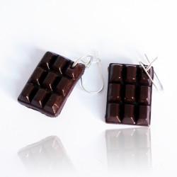 Boucles d'oreilles tablettes chocolat fait-main