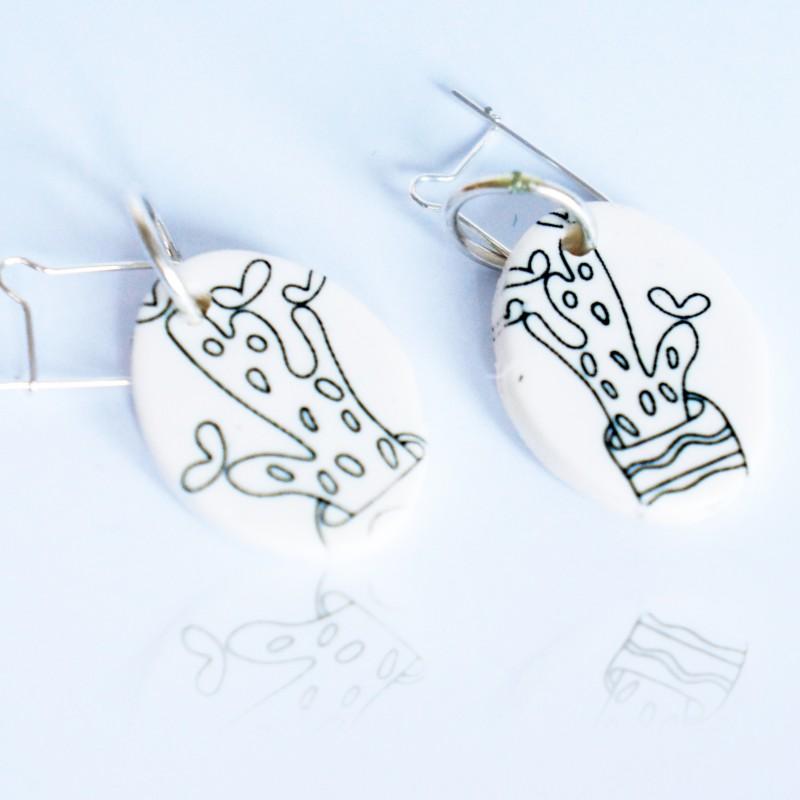 Black and white cactus earrings