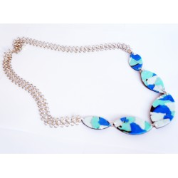 Long blue, turquoise and white necklace