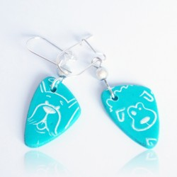 Turquoise dog earrings