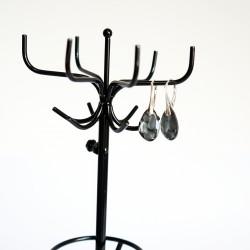 Boucles d'oreilles noires en cristal de Swarovski et argent