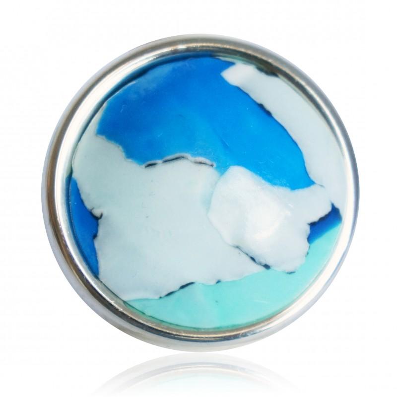 Bague planète bleue, verte et blanche