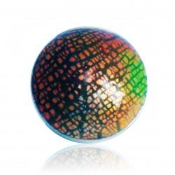 Bague rouge, orange et jaune effet métal