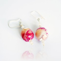Pink, beige and white earrings