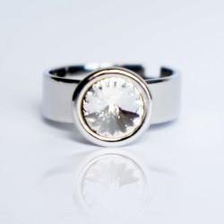 Bague solitaire imitation diamant en cristal