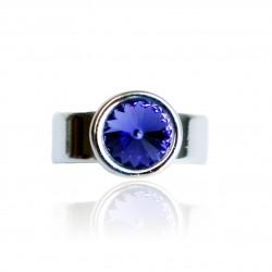 Bague solitaire violette en cristal de Swarovski