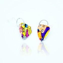 Boucles d'oreilles maisons multicolores
