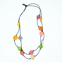 Mid-length double necklace with multicolored beads