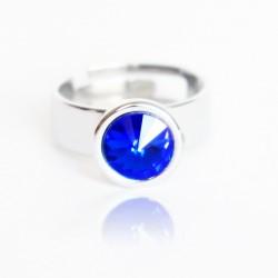 Bague solitaire bleue en cristal de Swarovski